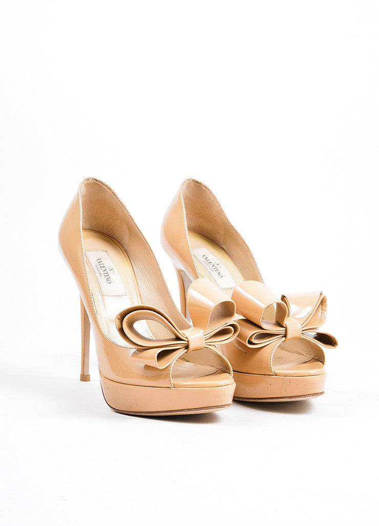 Beige Valentino Patent Leather Oversize Bow Peep Toe Stiletto Pumps Frontview