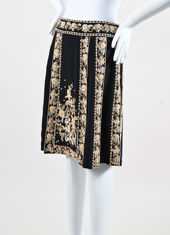 Valentino Black Silk Cream Floral Beaded Pleated Knee Length Skirt Sideview
