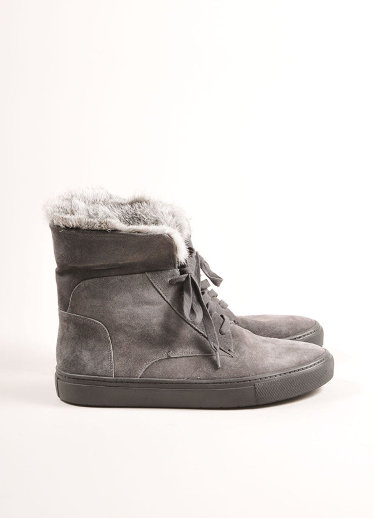"Vince New In Box Grey Suede Leather Rabbit Fur Trim ""Nyack"" Hi Top Sneakers Sideview 2"