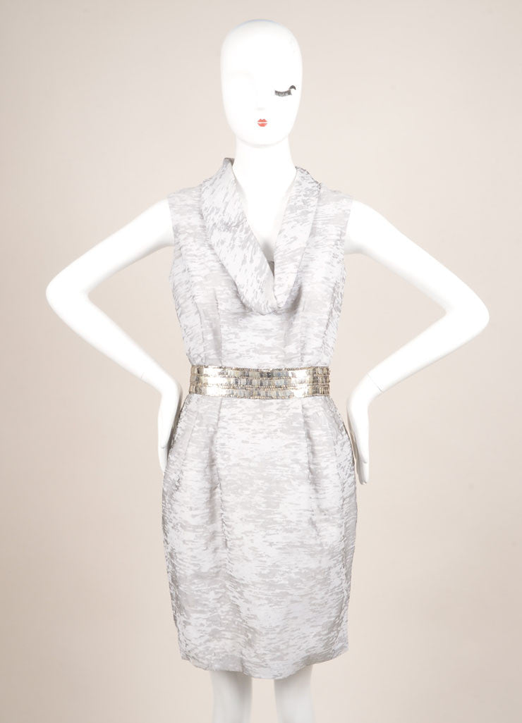 Yigal Azrouel Grey Abstract Print Beaded Waist Sleeveless Cowl Neck Sheath Dress Frontview