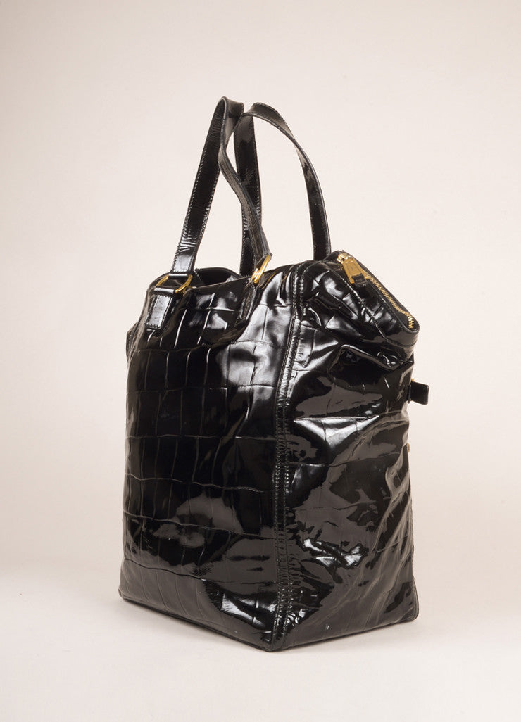 "Yves Saint Laurent Black Patent Leather Croc Print Medium ""Downtown"" Bag Sideview"