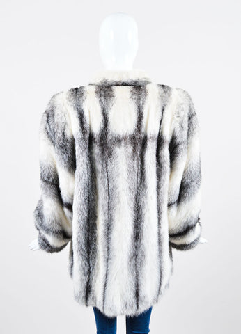 Black and White Yves Saint Laurent Fourrures Striped Fur Chubby Coat Backview