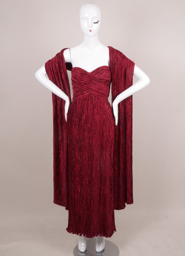 Burgundy Red Pleated Strapless Evening Gown With Shawl