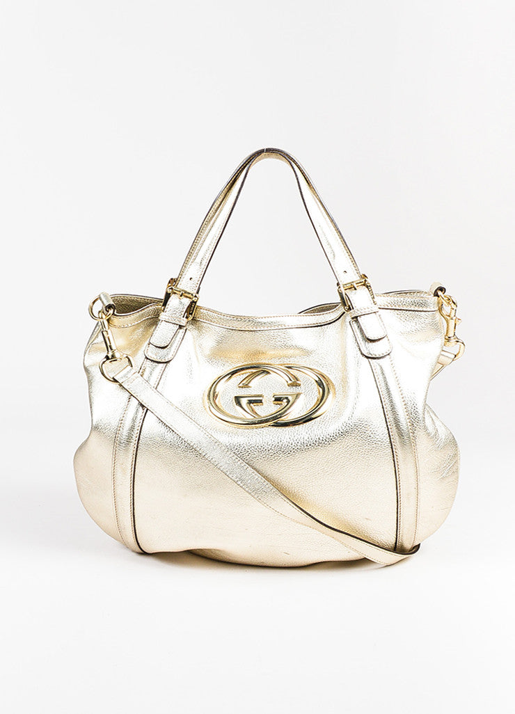 "Gucci Gold Metallic Leather GHW 'GG' Logo ""Medium Britt Hobo"" Bag Frontview"