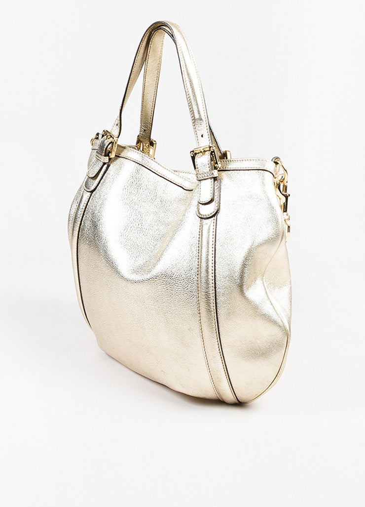 "Gucci Gold Metallic Leather GHW 'GG' Logo ""Medium Britt Hobo"" Bag Sideview"
