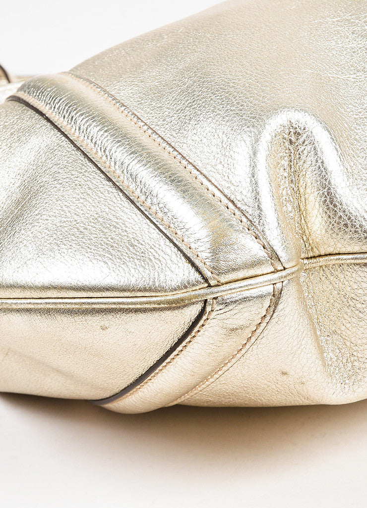 "Gucci Gold Metallic Leather GHW 'GG' Logo ""Medium Britt Hobo"" Bag Detail"