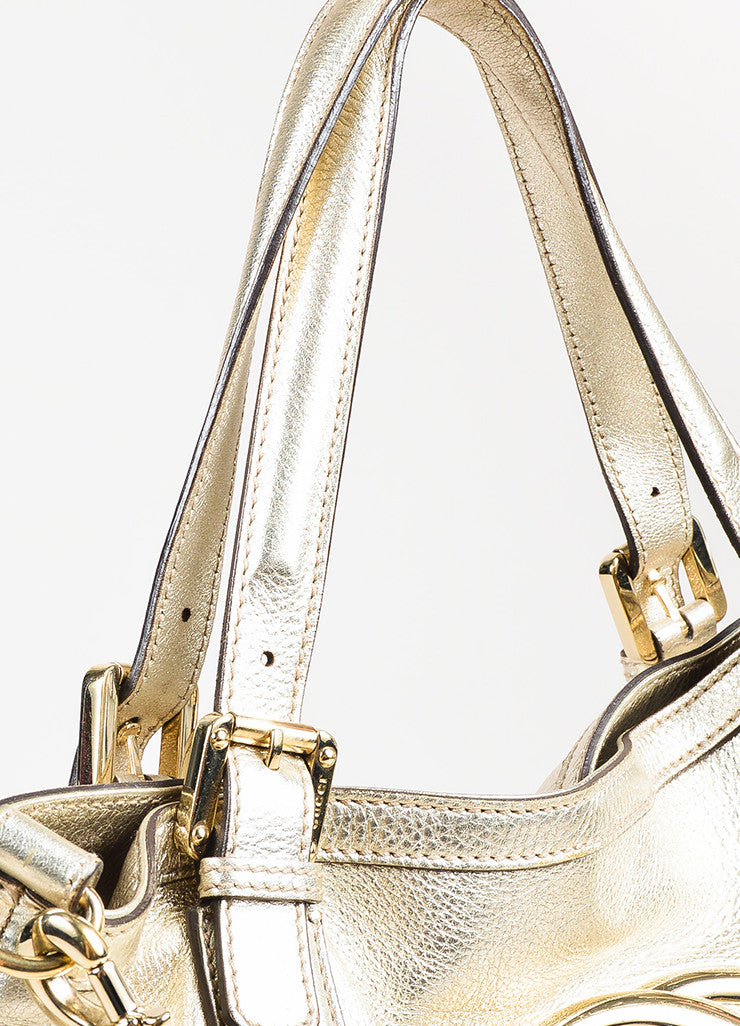 "Gucci Gold Metallic Leather GHW 'GG' Logo ""Medium Britt Hobo"" Bag Detail 2"