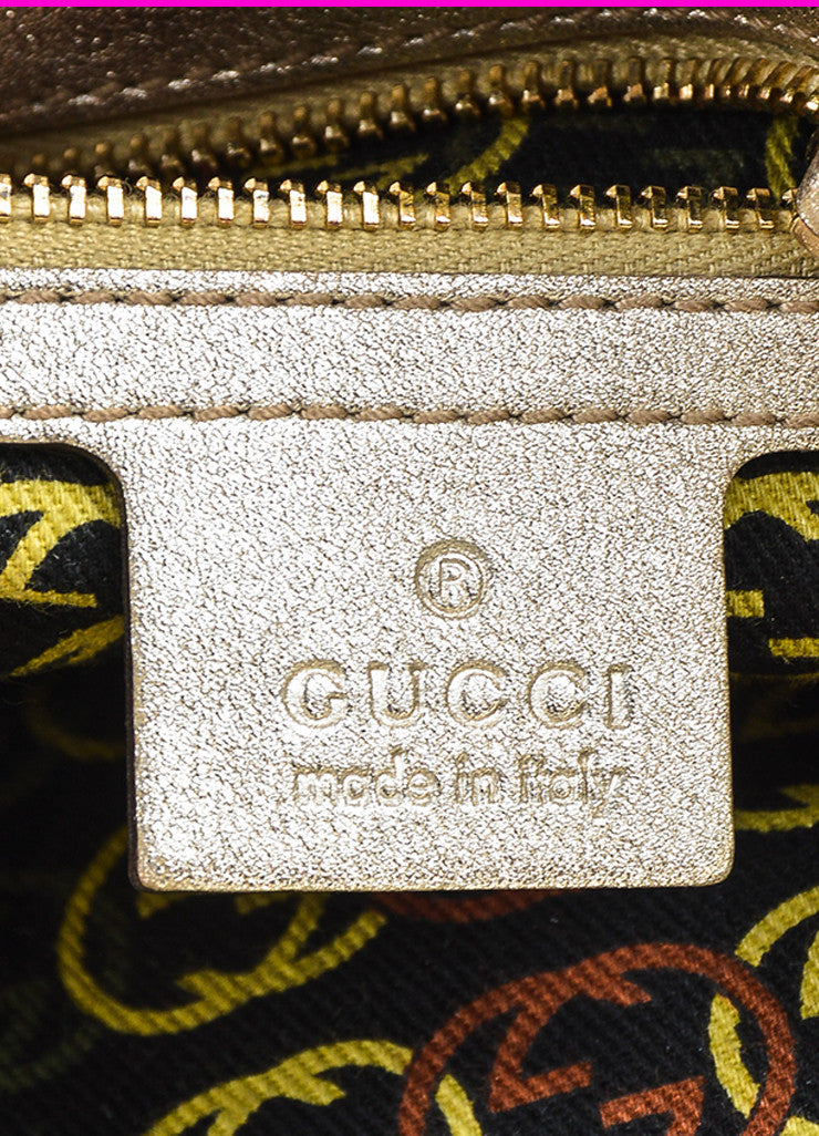 "Gucci Gold Metallic Leather GHW 'GG' Logo ""Medium Britt Hobo"" Bag Brand"