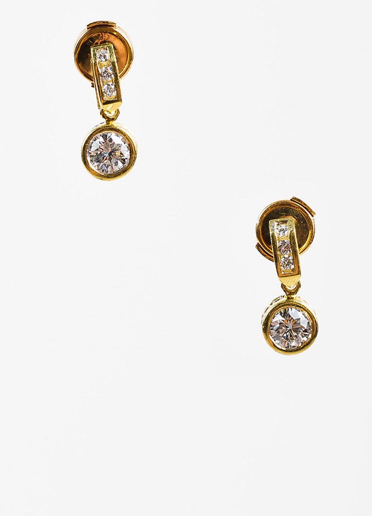 18K Yellow Gold 1.20 ct Round Diamond Embellished Drop Dangle Earrings Front