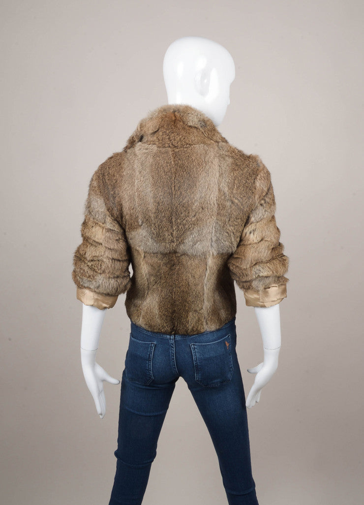 Brown and Grey Rabbit Fur Jacket
