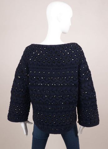 Valentino Navy Wool Cable Knit Jewel Rhinestone Embellished Sweater Backview