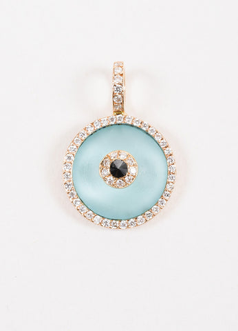 "Aaron Basha 18K Rose Gold Blue Topaz & Diamond Medium ""Evil Eye"" Charm Front"