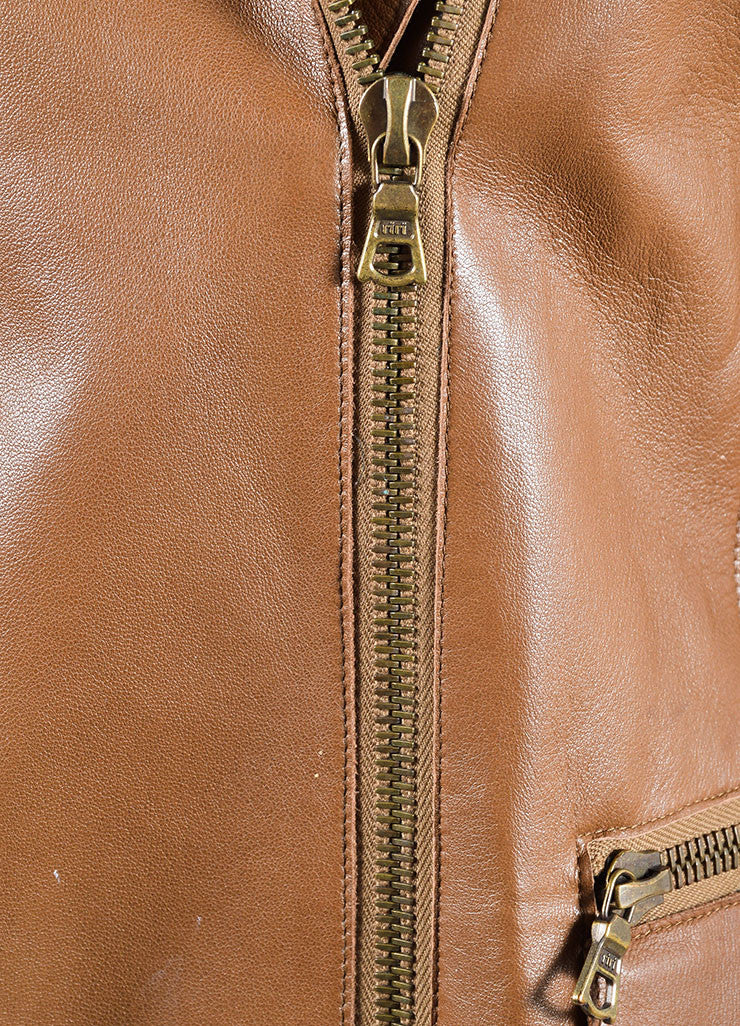Akris Brown Leather Zip Jacket Detail