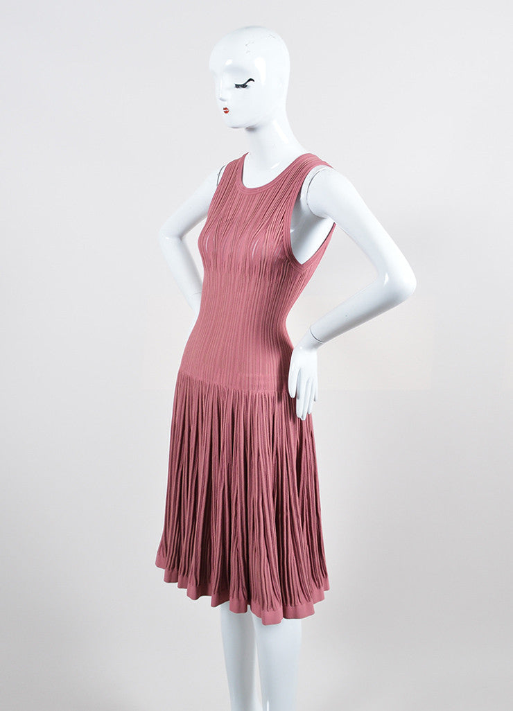 Dusty Pink Alaia Stretch Texture Knit Sleeveless Trumpet Flared Dress Sideview