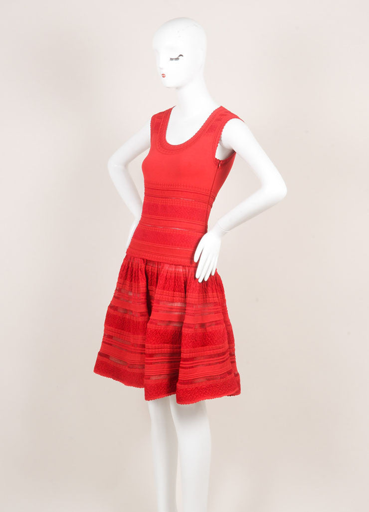 Alaia Red Silk Stretch Knit Sleeveless Flounce Flared Dress Sideview