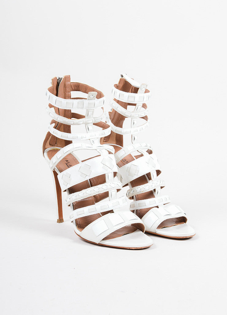 Alaia White Patent Leather Woven Cage Sandal Heels Frontview