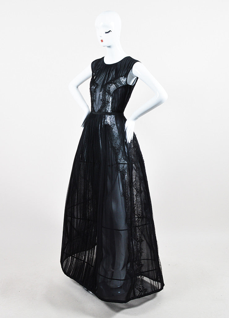 Alberta Ferretti Black Sheer Silk Lace Pleated Structured Sleeveless Gown Sideview