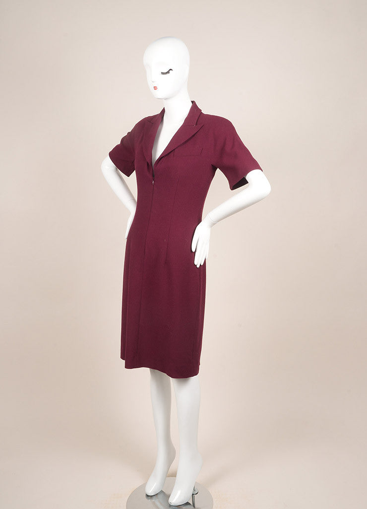 Alexander McQueen Maroon Wool Zip Up Short Sleeve Sheath Dress Sideview