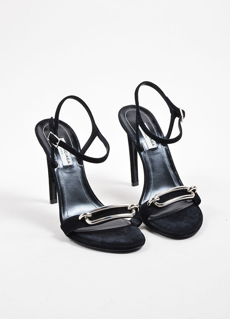 Balenciaga Black Suede Leather Buckle Ankle Strap Sandals Frontview