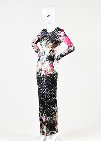 Balmain Multicolor Floral Print Long Sleeve Jersey Maxi Dress Front
