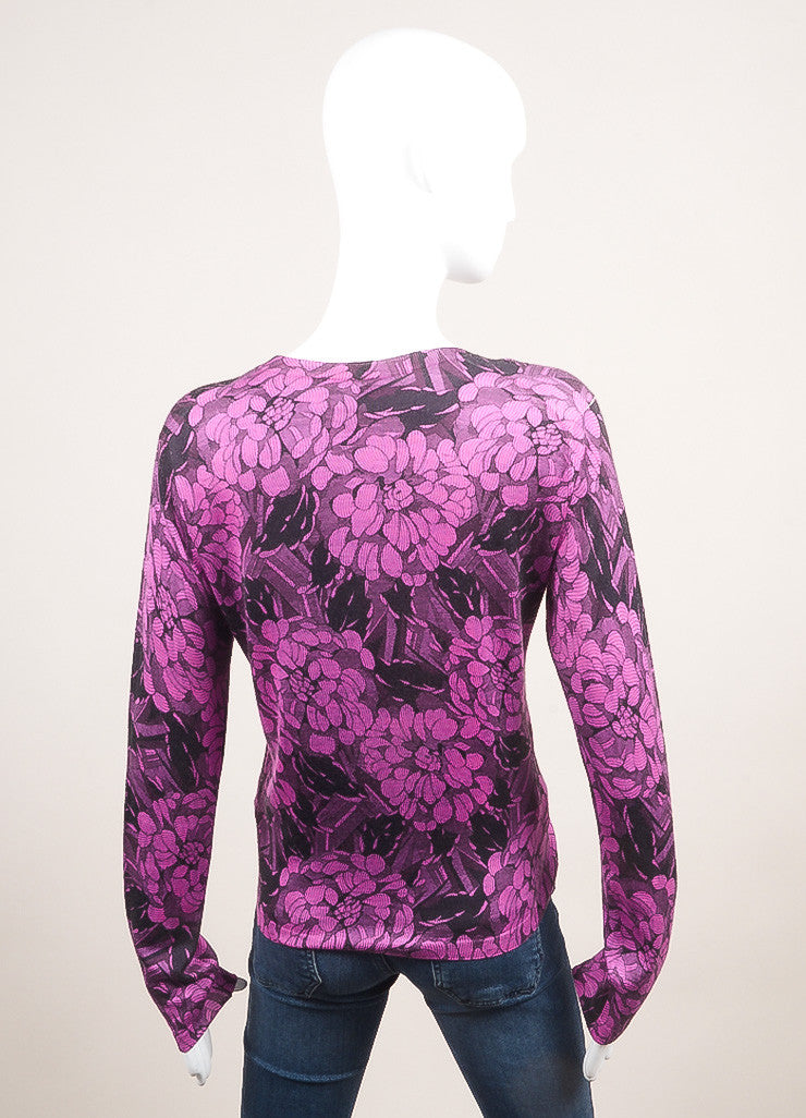 Bottega Veneta New With Tags Black and Purple Cashmere and Silk Floral Print Cardigan Backview