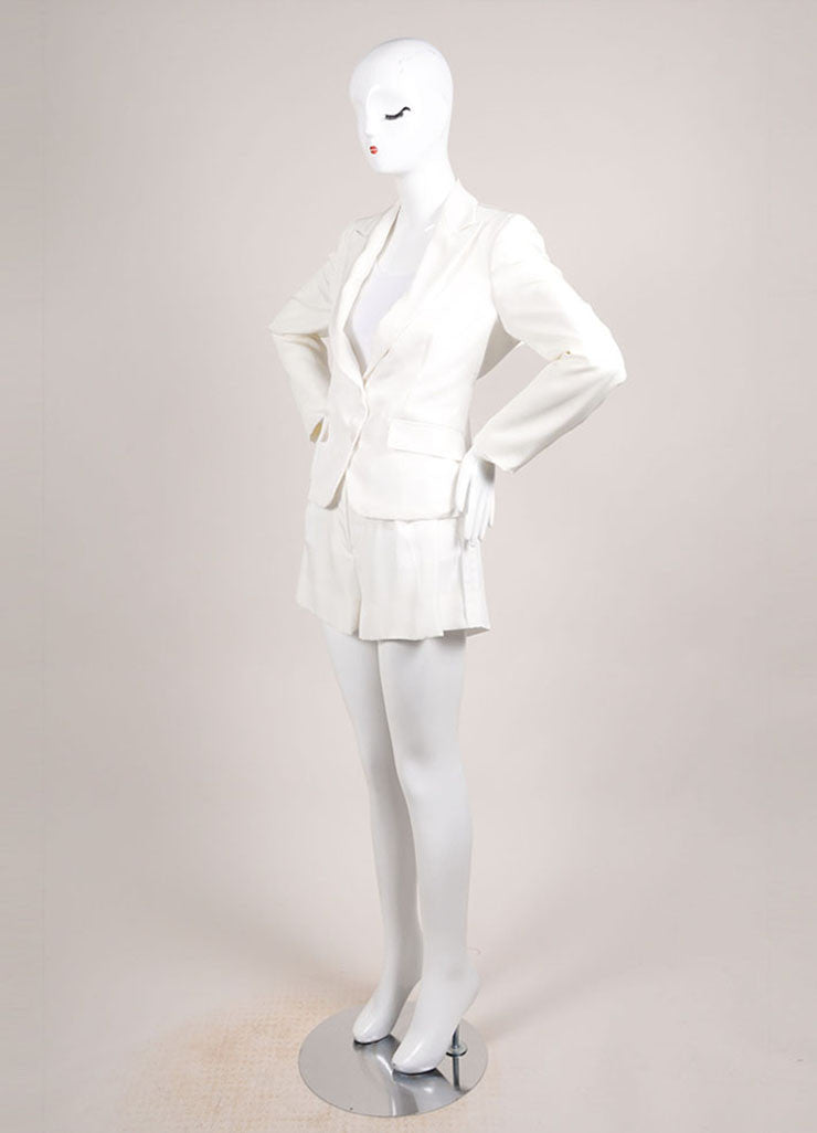Bottega Veneta New With Tags Cream Open Back Blazer and Pleated Shorts Suit Sideview
