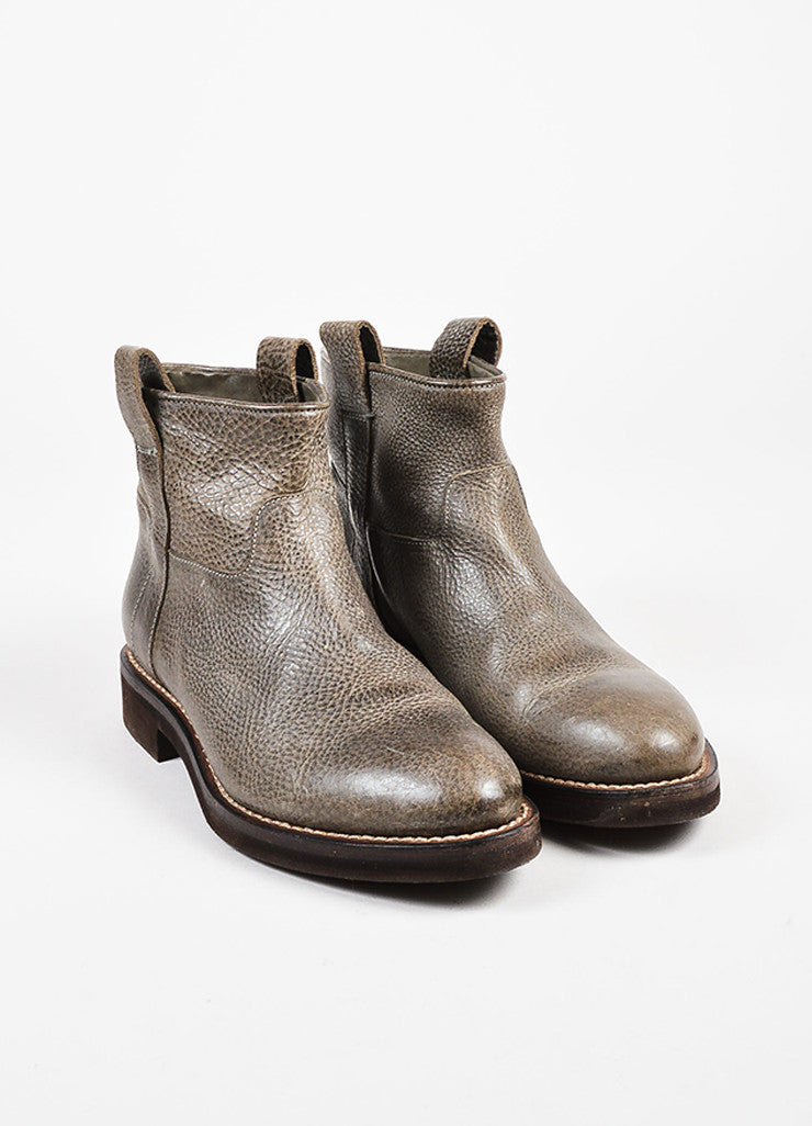 Brunello Cucinelli Gray & Brown Grained Leather Platform Moto Ankle Boots  angled
