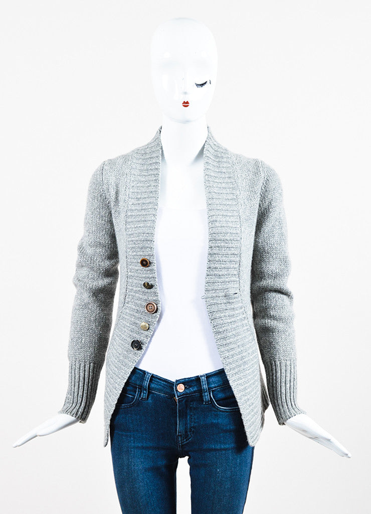 Grey Brunello Cucinelli Cashmere Rib Knit Fitted Button Cardigan Frontview