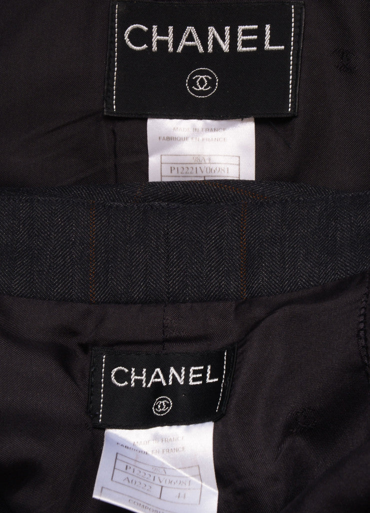 Chanel Charcoal Grey Wool Plaid Double Breasted Jacket Pants Suit Brand