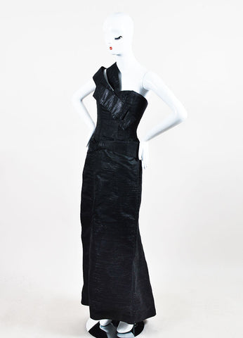 "Dark Grey and Metallic Silver Carolina Herrera Bow Detail ""Diana"" Gown  Sideview"