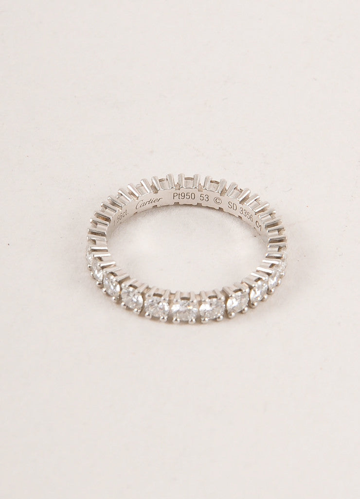 "Cartier 1.5 Carat Diamond and Platinum ""Eternity"" Band Ring Side Topview"