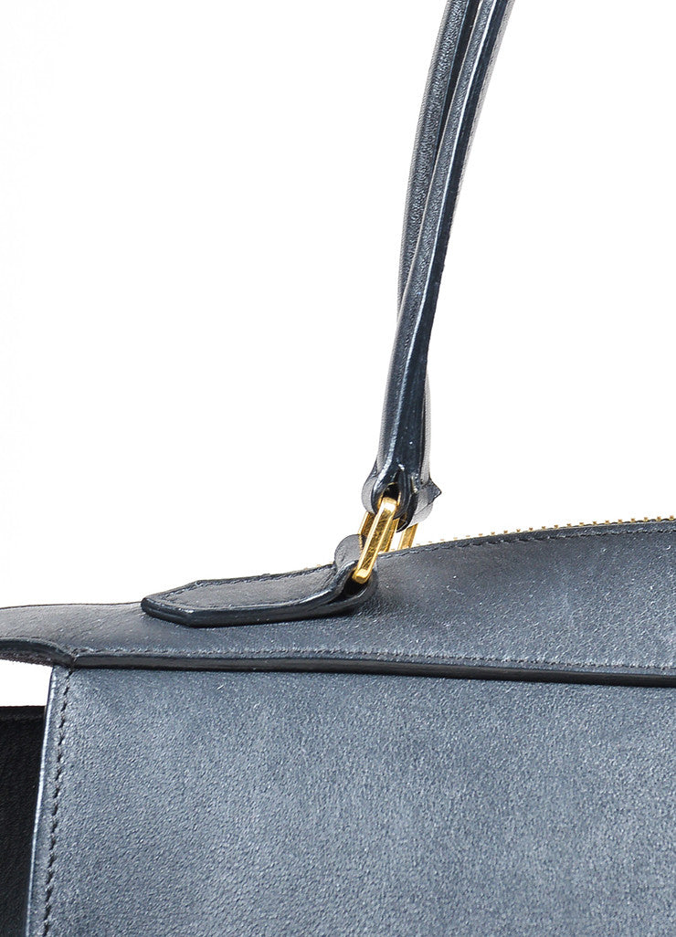 "Black Leather Celine ""Small Ring"" Zip Winged Satchel Bag Detail 2"