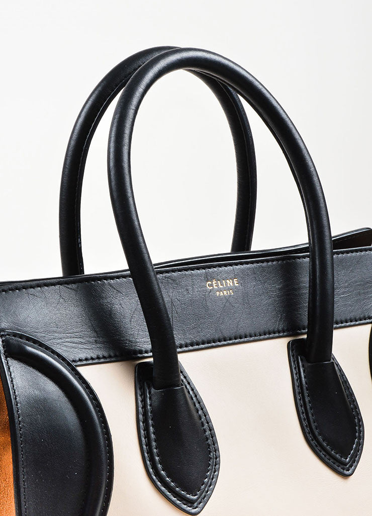 "Celine Black, Tan, and Beige Leather and Suede Winged ""Mini Luggage Tote"" Handbag Detail 2"