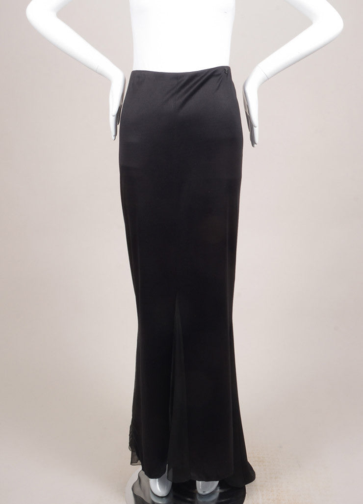 Chanel Black Silk Sheer Chiffon Insert Maxi Skirt Frontview