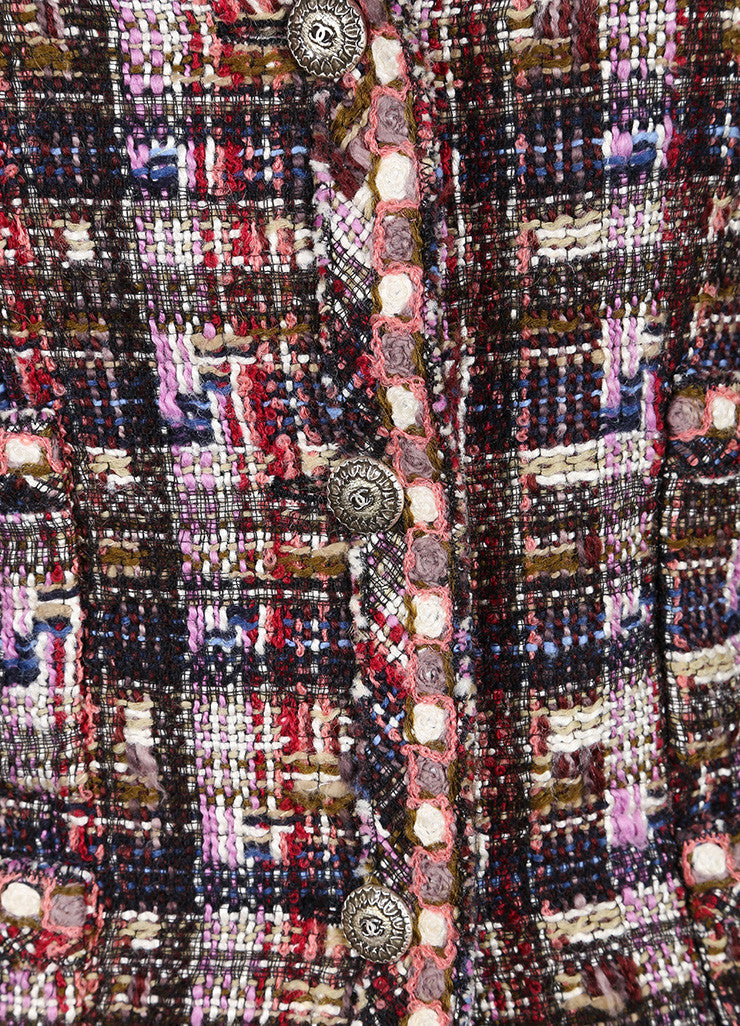 Chanel Multicolor Checkered Wool Blend Tweed Long Sleeve Buttoned Jacket Detail