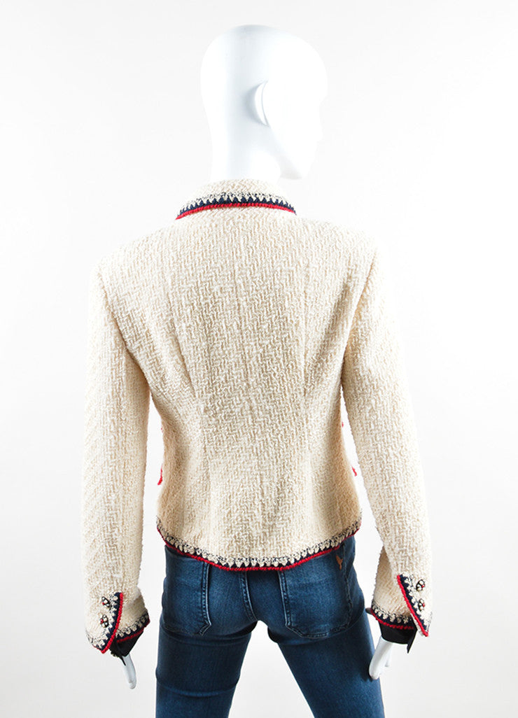 Chanel Cream, Red, and Navy Tweed Embellished Button Jacket Backview