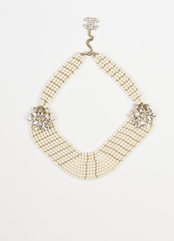 Chanel Gold Toned Faux Pearl Glass Stone 'CC' Flower Pedant Bib Necklace Frontview