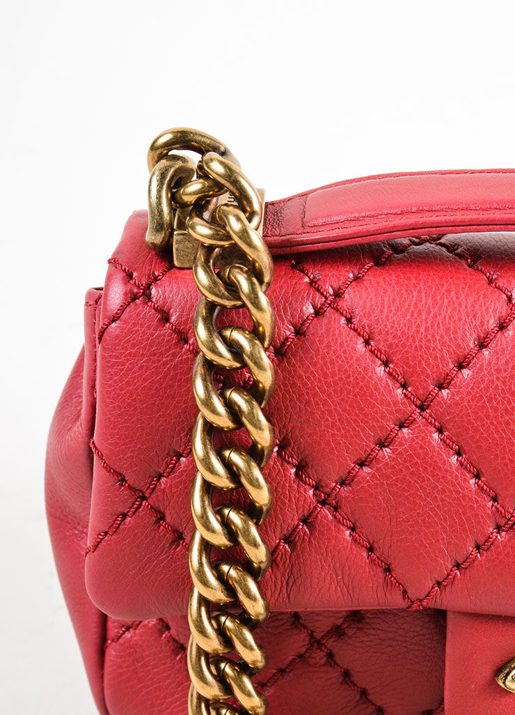 Chanel Red Leather Chain Strap Flap Crossbody Bag Detail 2