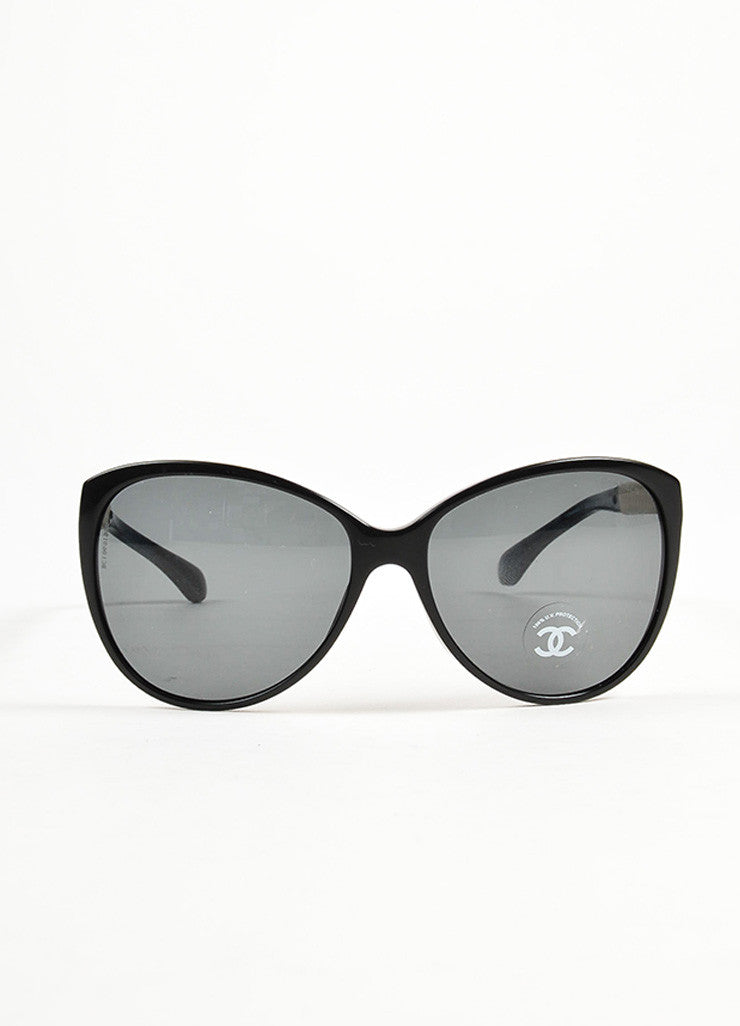 Chanel Black and Cream Leather Trim 'CC' Logo Butterfly Frame Sunglasses Frontview