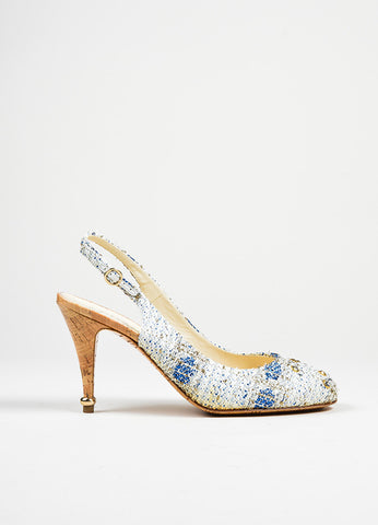 Blue and White Chanel Tweed Cork Swarovski Crystal 'CC' Slingback Pumps Sideview
