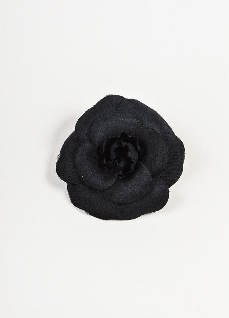 Black Chanel Silk Twill Camellia Flower Brooch Pin Front