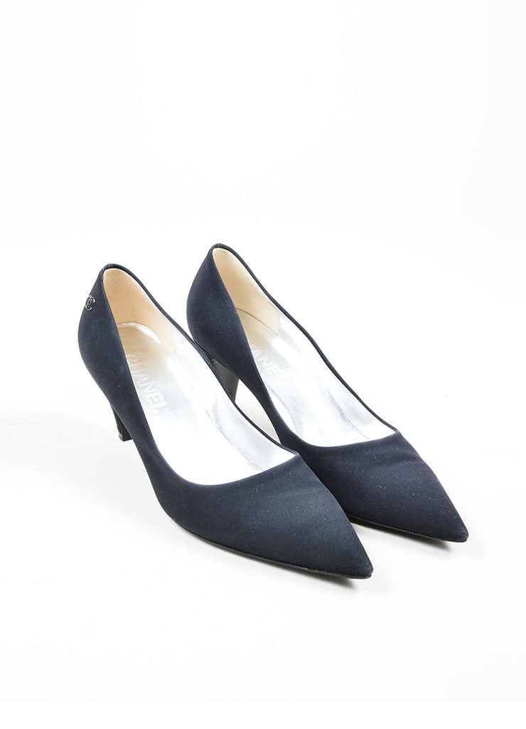 Black Chanel Classic Pointed Toe 'CC' Logo Mid Heel Pumps Frontview
