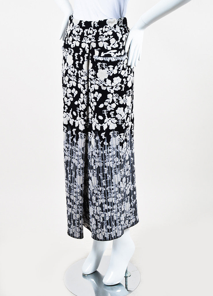 Chanel Black and Cream Cotton Blend Knit Floral Pattern Fitted Maxi Skirt Sideview