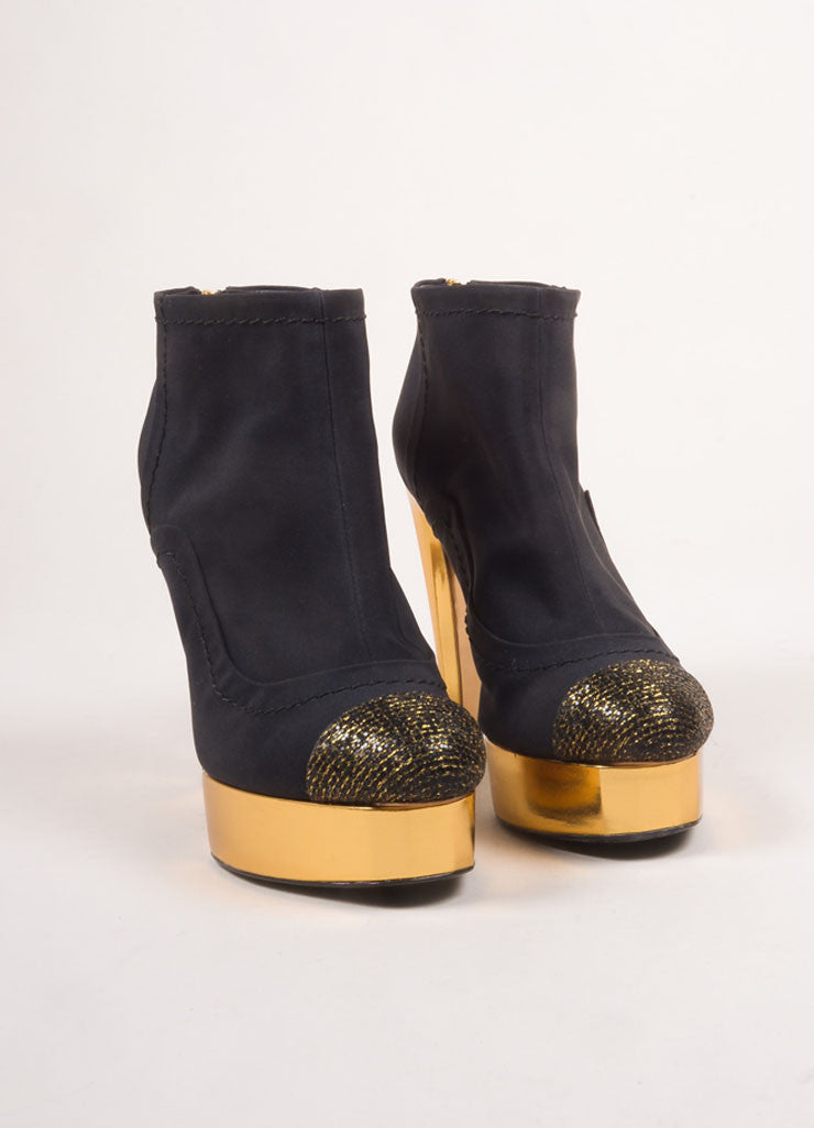 Chanel Black and Gold Toned Woven Metallic Glitter Cap Toe Platform Booties Frontview