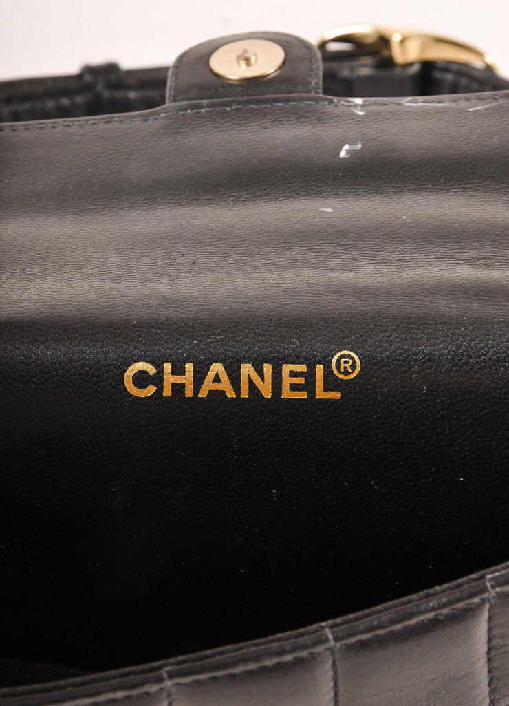 "Chanel Black Lambskin Leather Square Quilted ""CC"" Logo Waist Bag Belt Brand"