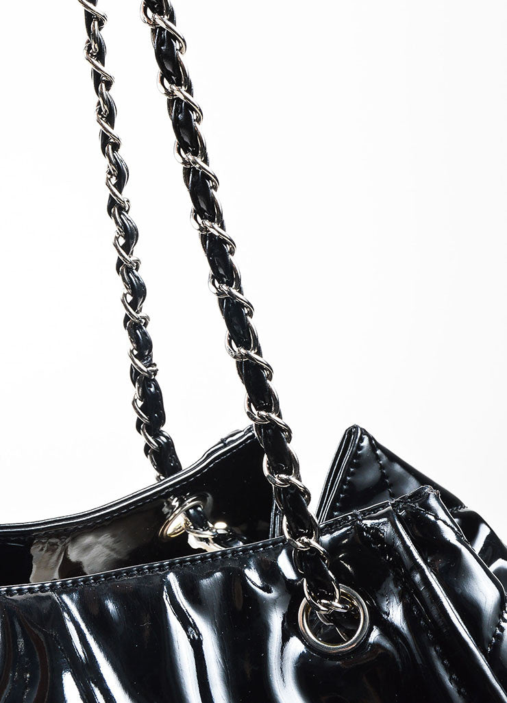 "Chanel Black Patent Leather 'CC' Embroidered ""Lipstick Ligne Large Tote"" Handbag Detail 2"