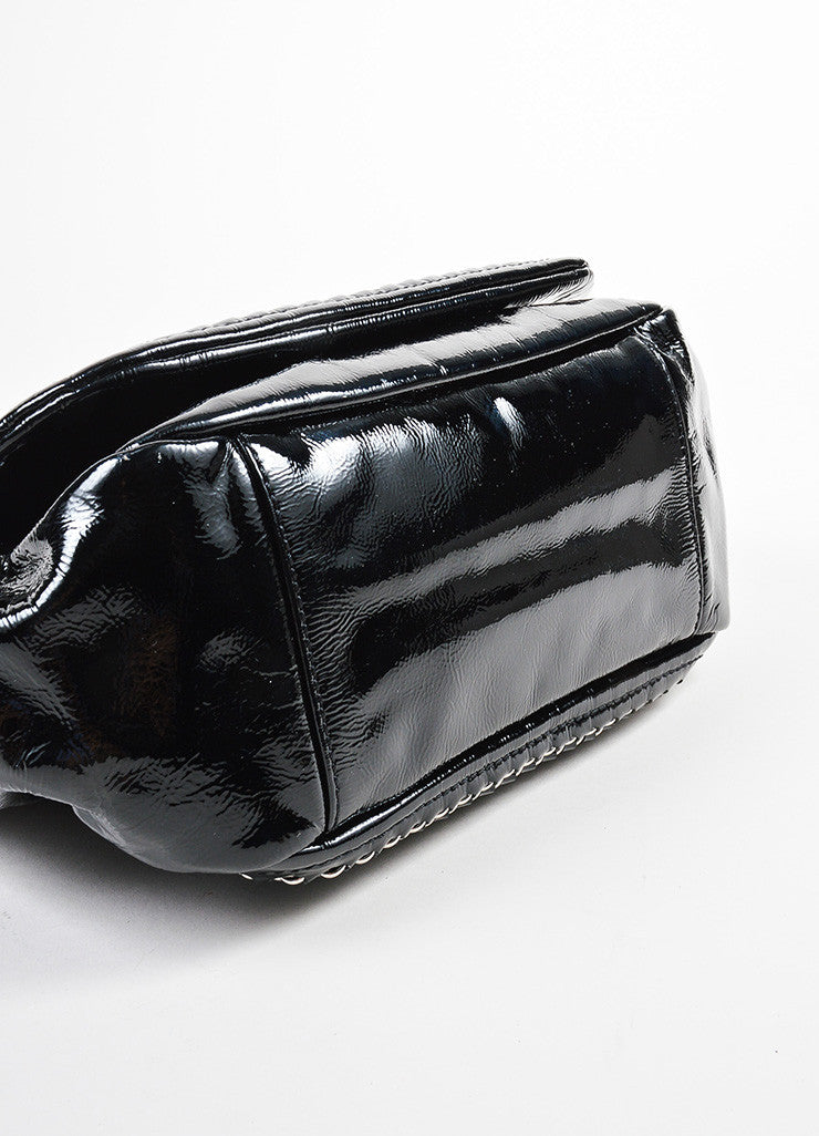 "Black Chanel Patent Leather Chain Strap ""Luxe Ligne Accordion"" Flap Shoulder Bag Bottom View"