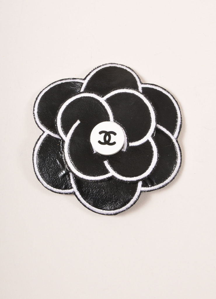 "Chanel Black and White Leather Camellia ""CC"" Logo Pin Brooch Frontview"