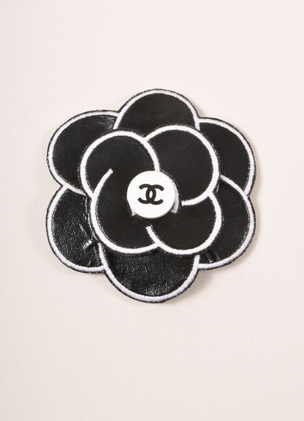 Black And White Leather Camellia Quot Cc Quot Logo Pin Brooch