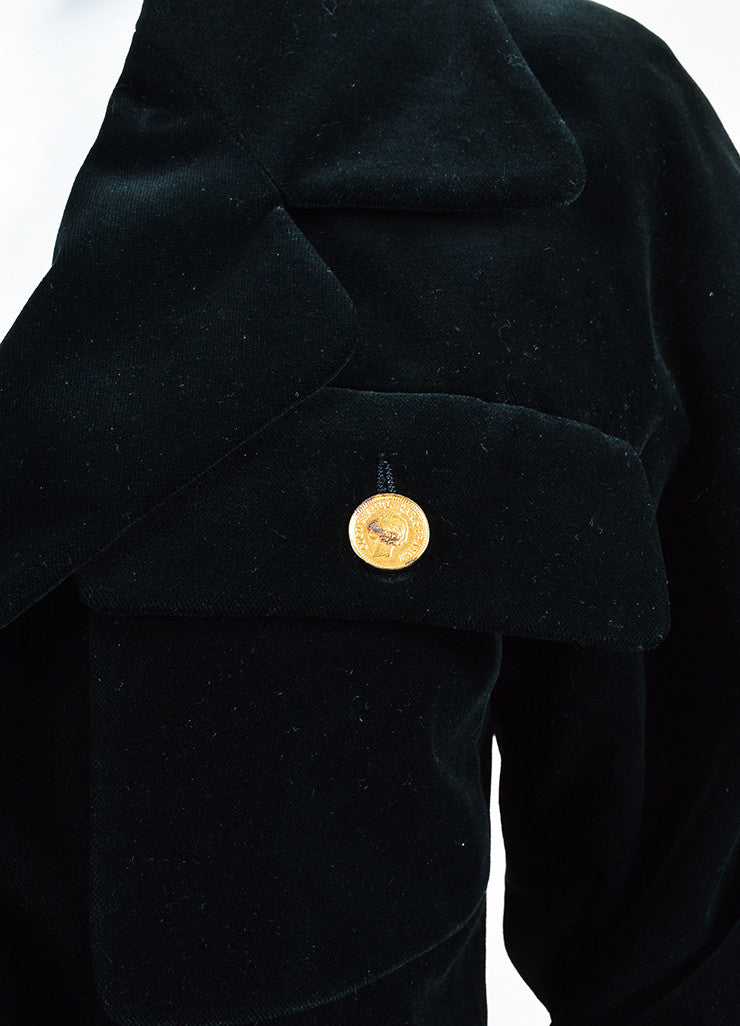 "Chanel Black Velvet Gold Toned Metal ""Coco Chanel"" Buttons Jacket Detail"